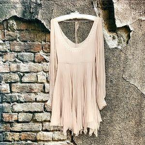 Free People- Champagne mini babydoll dress
